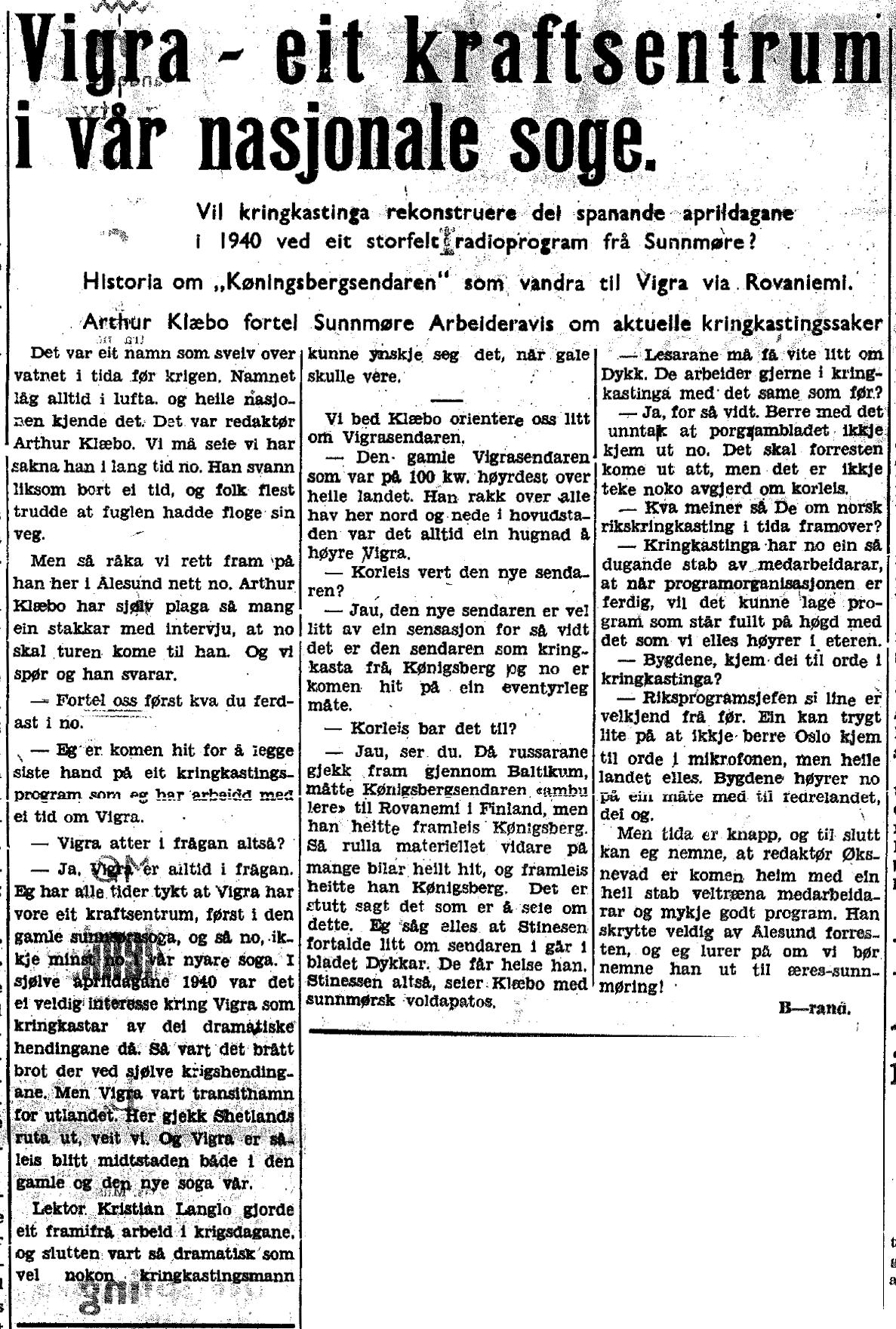 Sunnmøre Arbeiderblad 30. august 1945