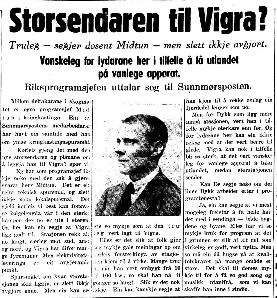 Bilete av utklipp frå Sunnmørsposten 31. mai 1938